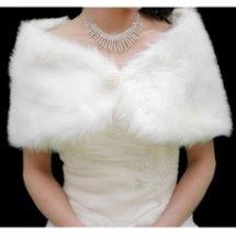 Faux Fur Ivory Bridal Shawl (FS_13.5)