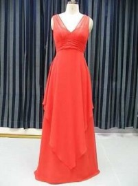 Elegant Quality Chiffon Overlay V-Neck Mother of the Bride / Formal Dress  (LB-F07)