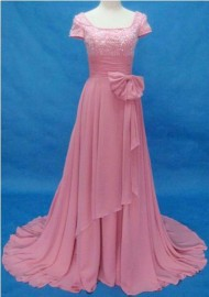 Elegant Quality Chiffon Overlay Mother of the Bride / Evening Dress with Ruffle and Beadworks (LB-F10)