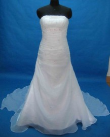 Elegant Trumpet Strapless Quality Organza Wedding Dress with Beadworks (LB-PW01)