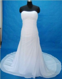 Elegant Trumpet Quality Chiffon Overlay Strapless Sweetheart Wedding Dress with Beadworks (LB-PW02)