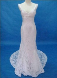 Elegant Thin Straps Quality Lace Wedding Dress with Beadworks (LB-W02)