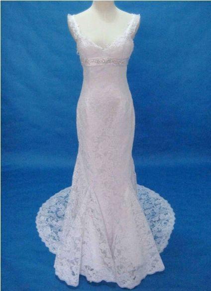 Wedding Dress Thin Lace Straps : Elegant thin straps quality lace wedding dress with