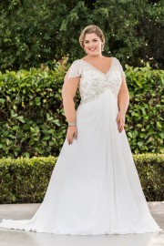 Elegant Soft Floaty Wedding Dress with Stunning Beaded Bodice (LB-W23)