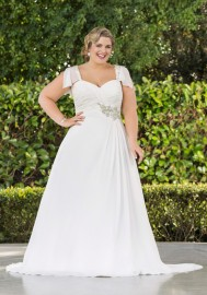 Elegant Soft Floaty Wedding Dress with Stunning Beaded Bodice (LB-W24)