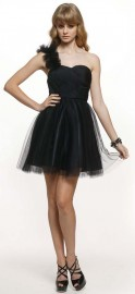 Charming Quality Tulle Overlay Little Black Cocktail Dress (LBC02)