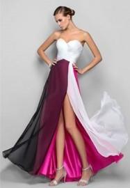 A-Line Sweetheart Chiffon Multi Tones Colorful Formal Dress (LBF-24)