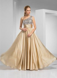 Stunning One Shoulder Formal / Wedding w Sequins Bodice (LBF-25)