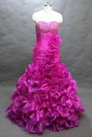 Glamorous Mermaid / Trumpet Strapless Sweetheart Formal / Evening / Bridesmaid Dress with Ruffle and Beadworks (LBFSH0144)