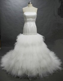 Stylish Mermaid Wedding Dress with Beadworks and Tulle Layers (LBH2487)