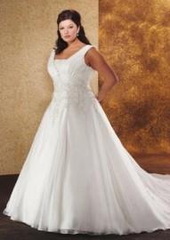 Elegant Quality Chiffon Overlay V-Neck Wedding Dress with Beadworks (LBHSGX043)