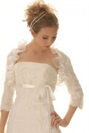 Elegant Wedding Dress with Beaded Lace and Bolero Jackets (LBHYM-012)