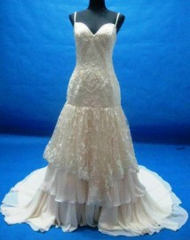 Elegant Trumpet Lace and Chiffon Overlay Sweetheart Wedding Dress with Beadworks (LBHYM033)