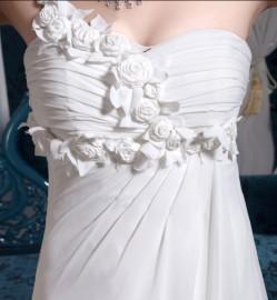 Goddess Quality Chiffon High Waist Wedding Dress (LBM108)
