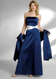 Elegant A-Line Strapless Bridesmaid / Formal Dress with Color Sash and Wrap (LBMWD031)