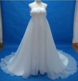 Stunning Empire Strapless Quality Organza Wedding Dress (LBMW1)