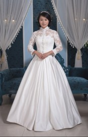 Elegant Wedding Dress with Quality Lace Bolero Jackets (LBW104)