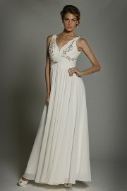 Elegant Quality Chiffon Wedding Dress with Beadworks (LBW105)