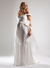 Gorgeous Empire Spaghetti Straps Maternity Wedding Dress with Stylish long Wraps / Sash (LBWSM0215)
