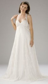 Charming Halter Neck Strapless Sweetheart Quality Chiffon Overlay Maternity Wedding Dress (LBWSM0227)