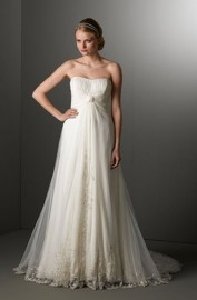 Elegant Empire Strapless Sweetheart Maternity Wedding Dress with Beautiful Patched Lace Patterns (LBWSW0141)