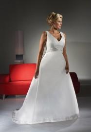 Elegant A-Line V-Neck Wedding Dress with Beadworks Waist Line (LBX068)