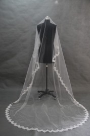 Cathedral Veil with Lace Trim, 3 Meters (V-007)