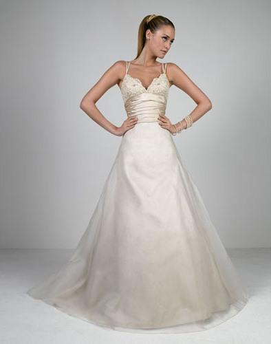 Wedding Dress Thin Lace Straps : Sexy a line double thin straps v neck organza wedding